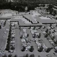 Oblique view of Hunters Woods Village Shopping Center